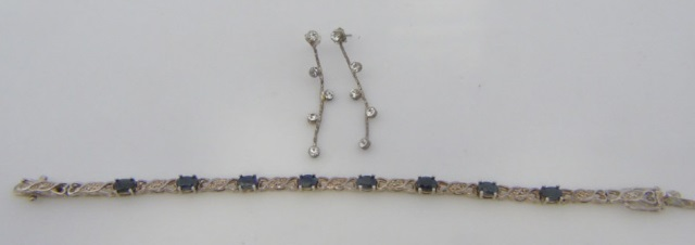 Sterling Silver Bracelet w/ Blue Gemstones