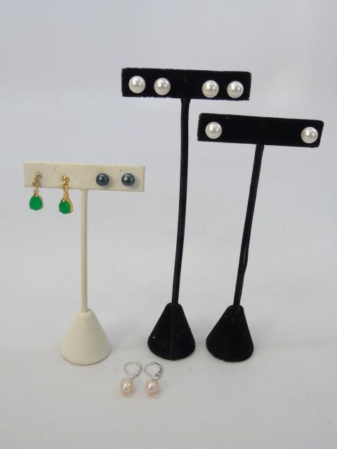 Jade, Cultured White & Black Pearl Earrings