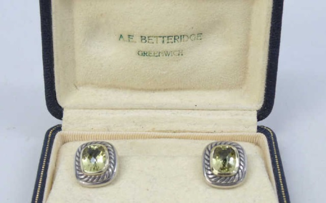 Estate David Yurman Sterling Gold Peridot Earrings