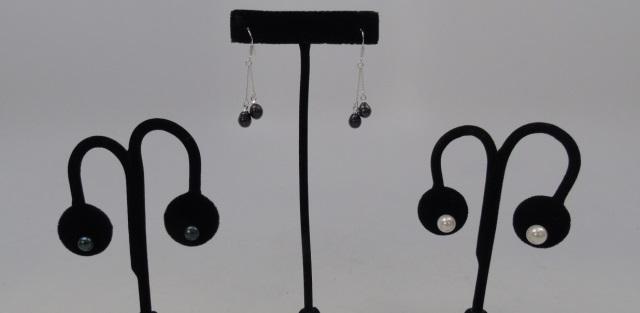 3 Pairs of Cultured White & Black Pearl Earrings