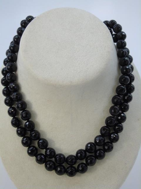 Pair Faceted Black Onyx Beaded Necklace Strands