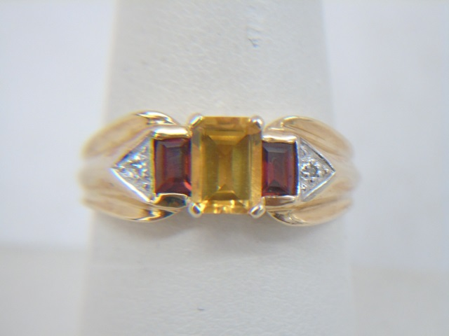 Estate Citrine Garnet Diamond Yellow Gold Ring