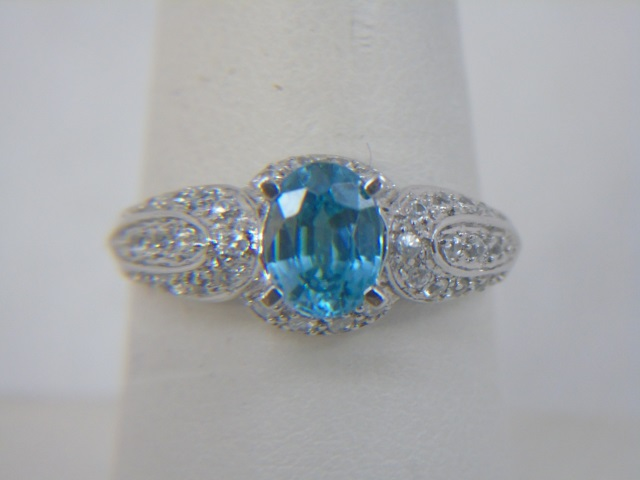 Contemporary White Gold Cocktail Ring w Blue Topaz