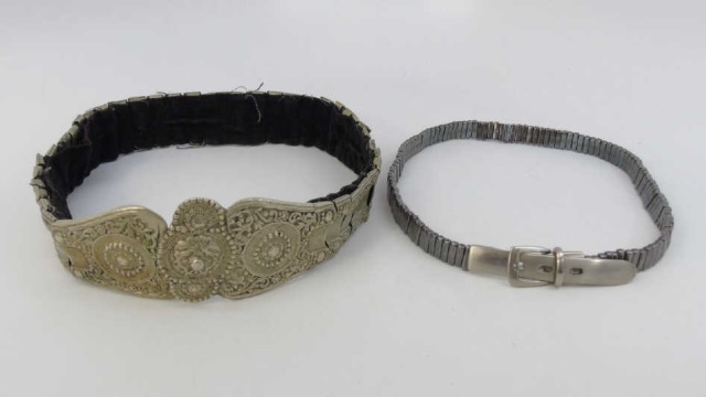 Two Vintage Ladies Silver Tone Belts
