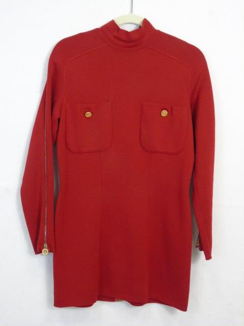 Vintage Chanel Boutique Woven Red Dress
