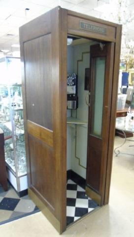 Vintage Mid 20th C Hotel / Oak Phone Booth