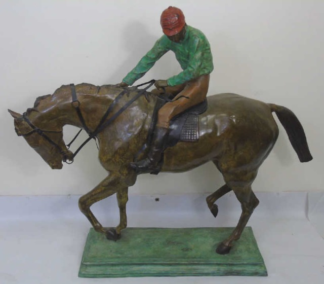 Large Equestrian / Jockey Painted Bronze Statue