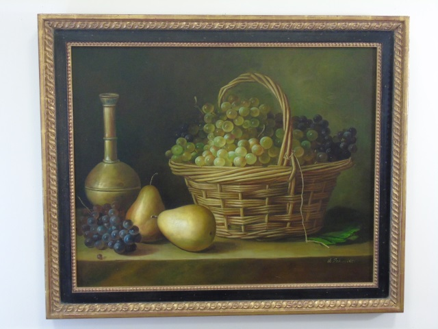 H Schmidt - Still Life Oil Painting Fruit & Wine