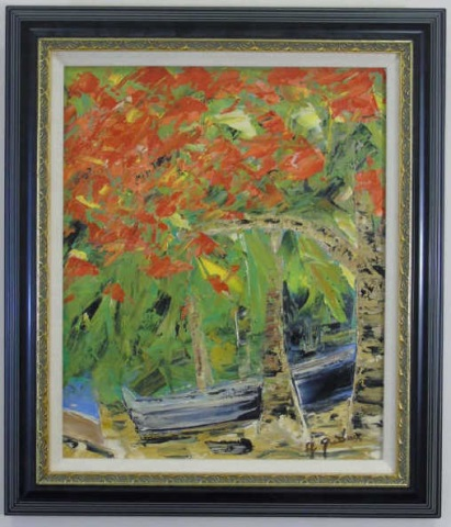 Flamboyant Saint Barths Signed 20th C Oil Painting