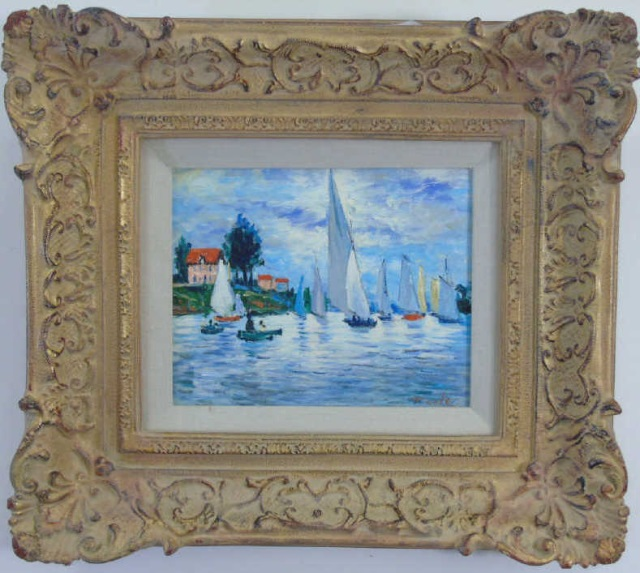 T Cole - Oil Painting Coastal Scene w/ Sailboats