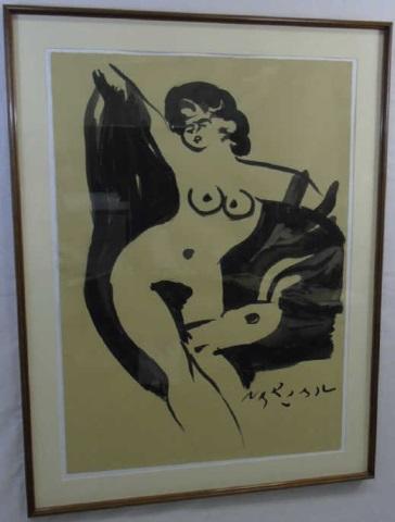 "Reuben Nakian ""Nymph and Goats"" Framed Original"