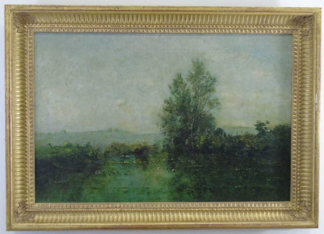 Antique Oil on Canvas Landscape Painting C 1875