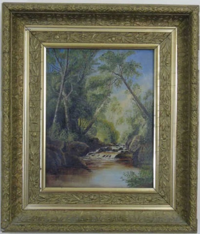 Antique 19th C Framed American Landscape Painting