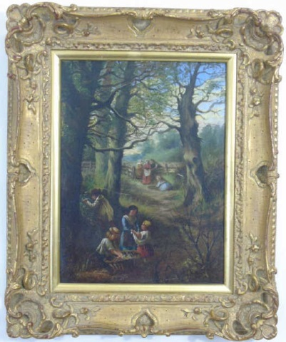 Antique 19th C Framed Continental Oil Painting
