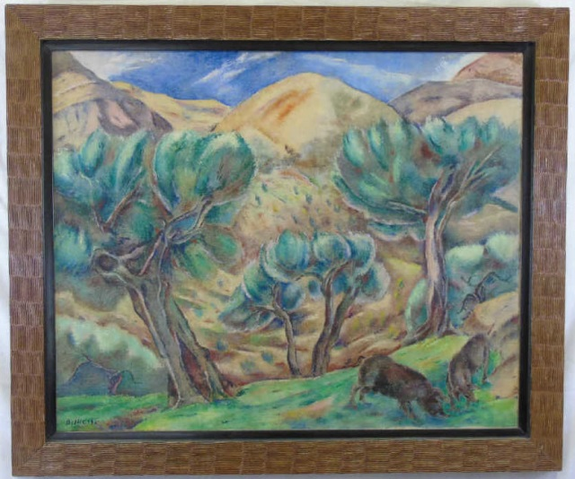 George Biddle - Framed Landscape Oil Painting