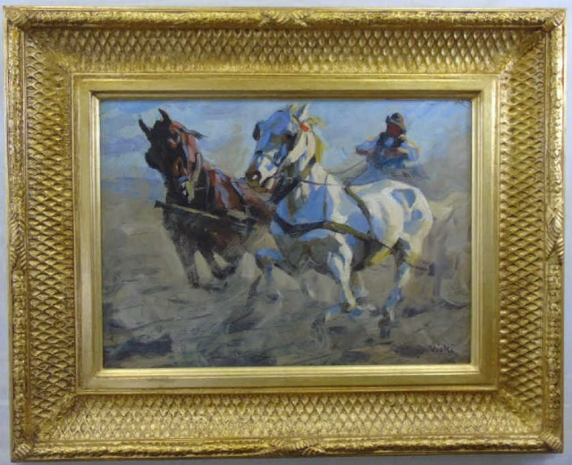 Janos Viski - Galloping Horse Oil Painting