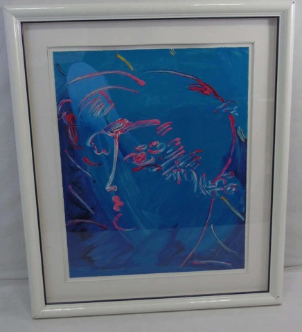 Peter Max - Signed Framed Blue Profile Lithograph