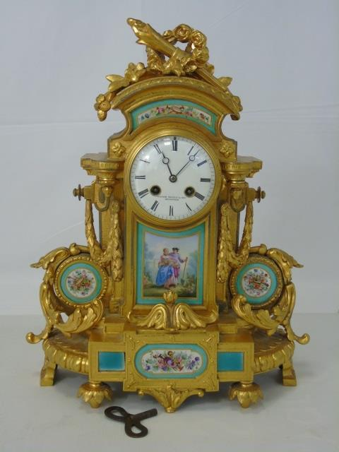 Antique Manoah Rhodes & Son Gilt Bronze Clock