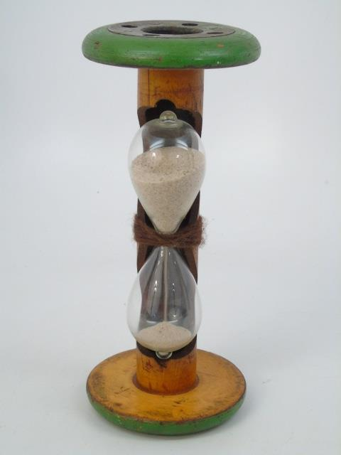 Antique Table Top Hour Glass Timer w Blown Glass