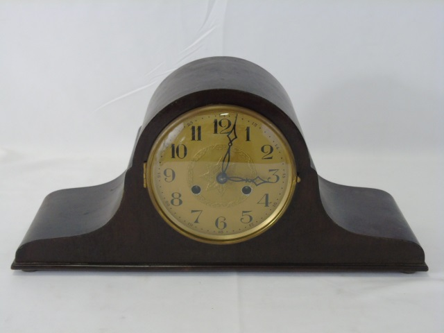 Vintage Mahogany Mantel Clock w Star Decoration
