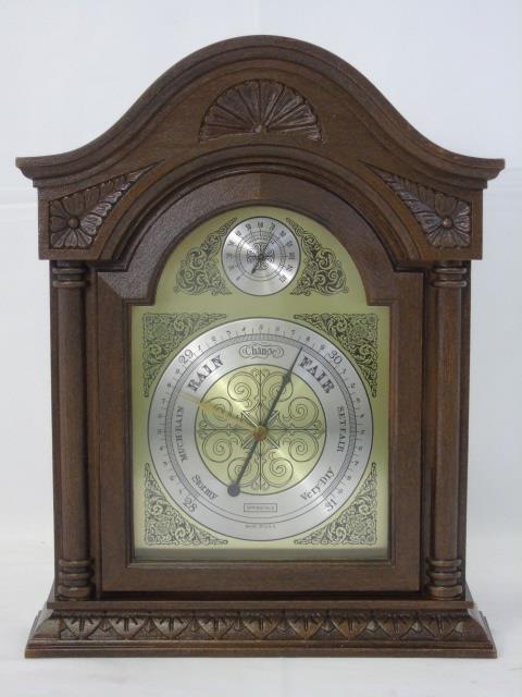 Vintage Mahogany Mantel Barometer Thermometer