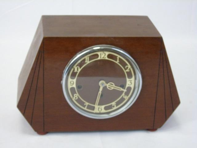 Vintage Mahogany Art Deco Style Mantel Clock