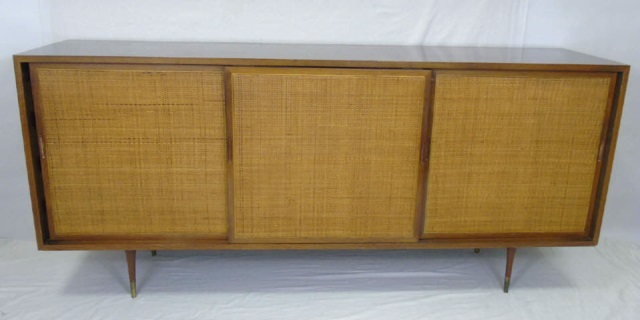 Mid Century Modern Cane Front Buffet Cabinet