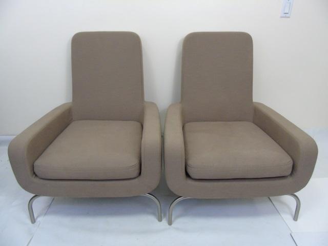 Pair Mid Century Modern Italian Minotti Armchairs