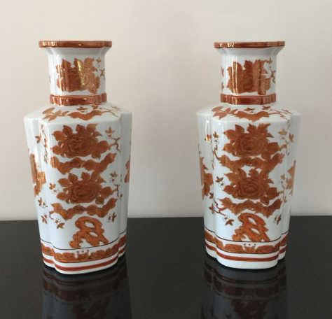 Pair Large Chinese Porcelain Baluster Vases