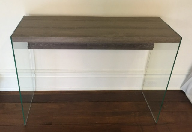 Contemporary Glass & Wood Console Table / Desk