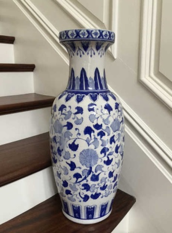 Large Chinese Porcelain Canton Blue & White Vase