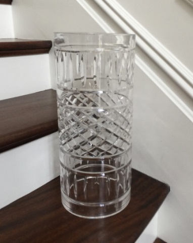 Large Contemporary Cut Glass Candle Hurricane