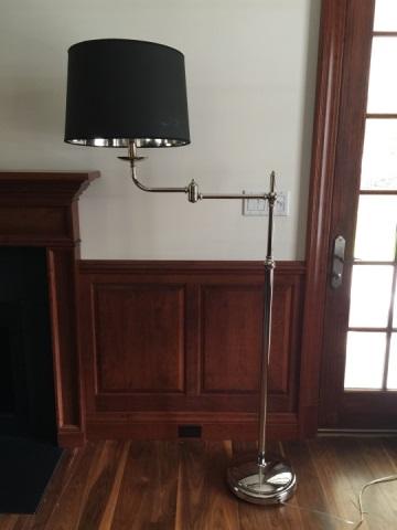 Contemporary Chrome & Custom Shade Floor Lamp