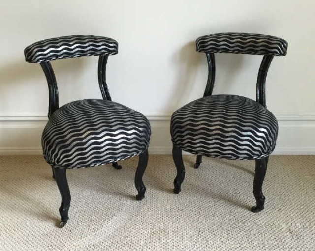Pair Antique Slipper Chairs w Modern Upholstery