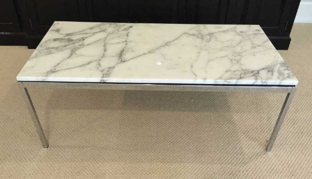 Contemporary White Marble Top Chrome Coffee Table