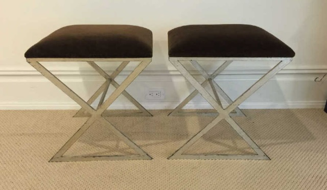 Pair Contemporary Silver Leaf & Velvet Ottomans