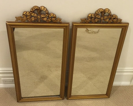 Pair French Style Gold Mirrors w Ribbon Bow Trim