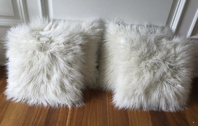 Four Contemporary White Shag Fur Throw Pillows
