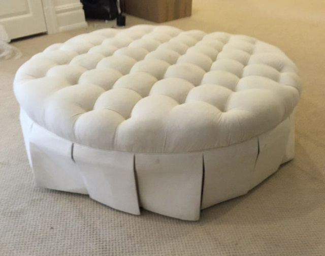 Round Contemporary Tufted Ottoman w Pleated Skirt