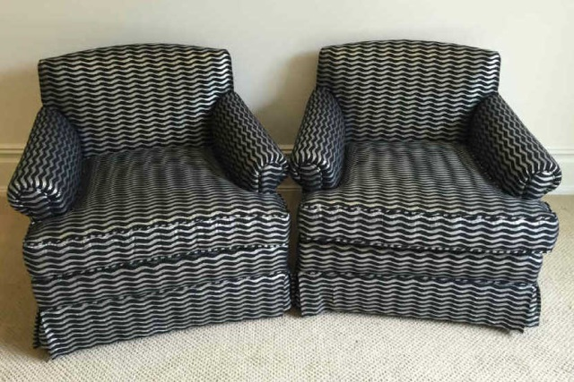 Pair Custom Silver & Black Upholstered Club Chairs