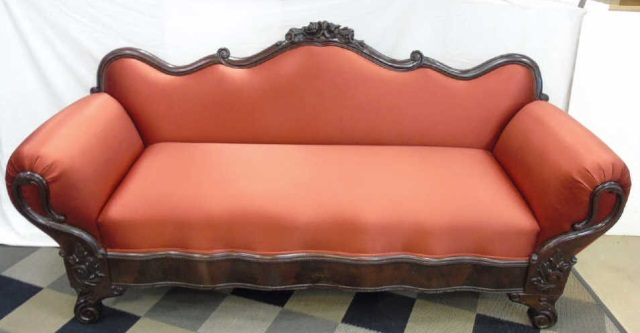 Antique 19th American Empire Mahogany Silk Sofa