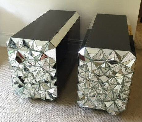 Custom Made Contemporary Mirrored Spike End Tables