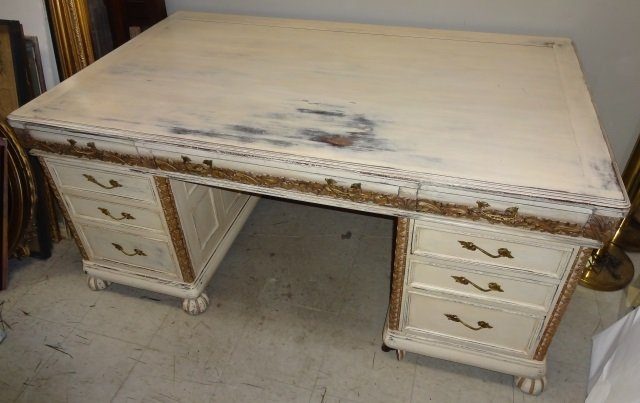 Antique French Country Painted Executive Desk