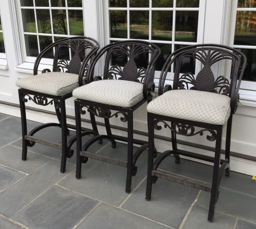 Three Brown Jordan Cast Iron Outdoor Bar Stools