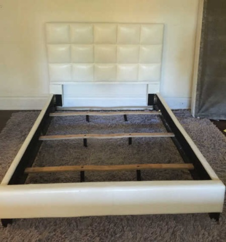 Contemporary Modern White Tufted Leather Bed