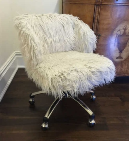 Contemporary Modern White Shag Fabric Office Chair