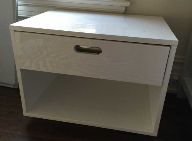 Contemporary Modern White Lacquer End Table