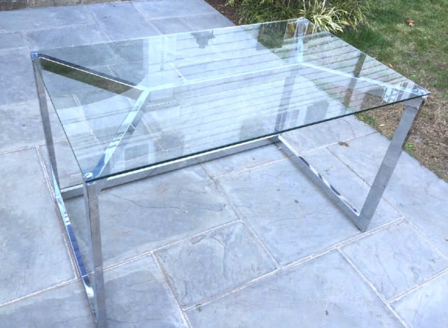 Contemporary Modern Glass & Chrome Office Desk