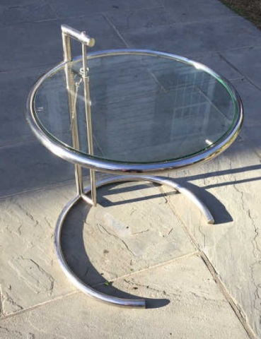 Mid Century Style Chrome & Glass Round End Table