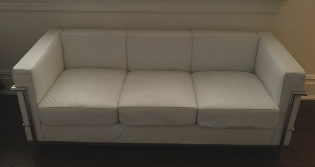 Mid Century Le Corbusier Style White Leather Sofa